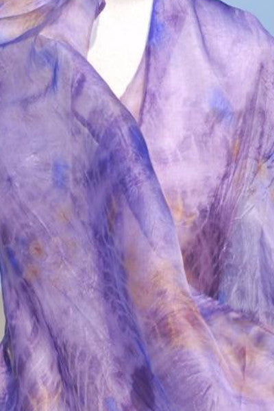 Narrow Silk Watercolor Infinity - Mulberry