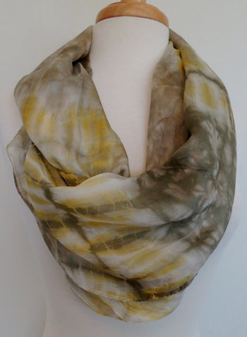 Skinny Water Color Silk infinity - Olive Gray