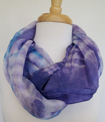 Skinny Water Color Silk scarf -  Purple Dusk
