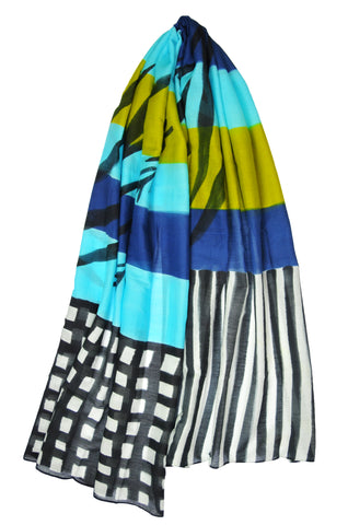 Mod Art Silk w Cotton Scarf - Blue w Green Channels - ETA Mar 7