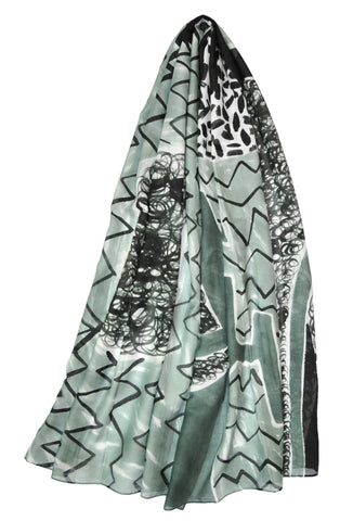Mod Art Silk w Cotton Scarves - Effervescent gray