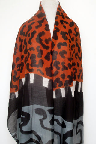 Mod Art Silk w Cotton Scarf - Jungle Crossing  - ETA Feb 12