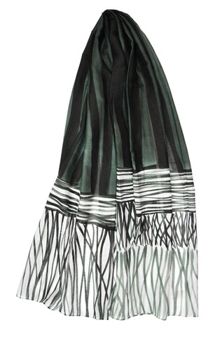 Mod Art Silk w Cotton Scarf - Ribbons w Grass