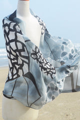 Mod Art Silk w Cotton Scarf - Black w Gray Chasm