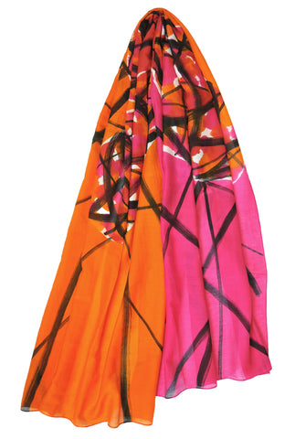 Mod Art Silk w Cotton Scarf - Color Clash