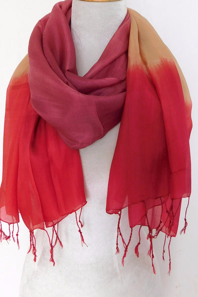 Silk Tricolor Scarf - Pink
