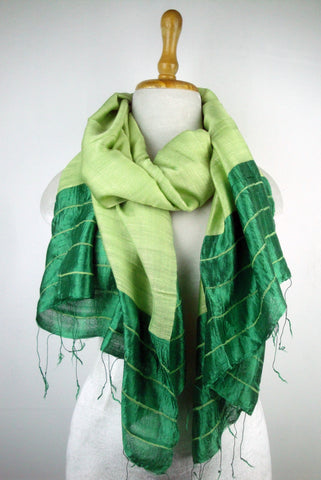 Silk Border Stripe Scarves - Green