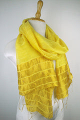 Silk Border Stripe Scarves - Gold