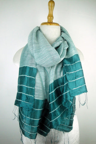 Silk Border Stripe Scarves - Teal