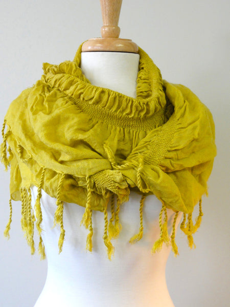 Long Knit Ruffle Scarf in Chartreuse
