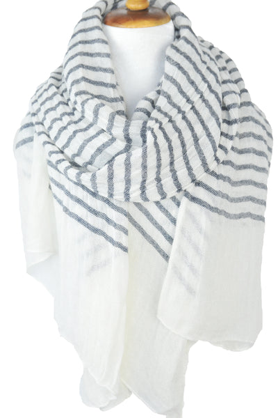 Knit Stripe White w Gray