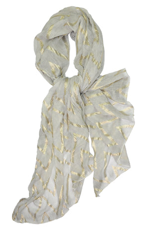 Almost Perfect  Light Gray w Lurex Ribbon Scarf
