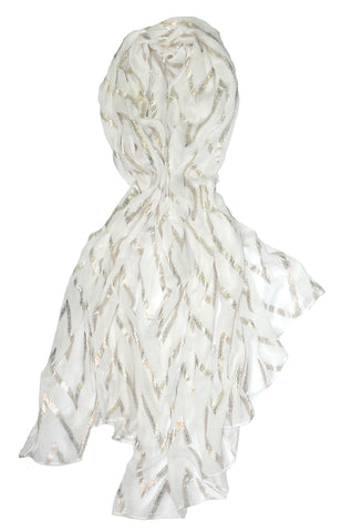 White w Lurex Ribbon Scarf