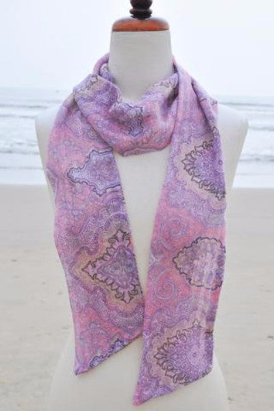 Avalon Super Narrow Viscose Scarf - Pink