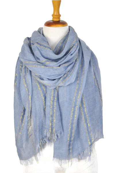 Natural Texture w Lurex Stripe - Blue