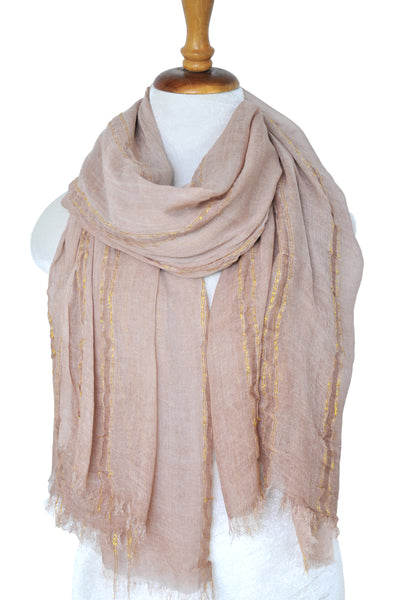 Natural Texture w Lurex Stripe - Blush