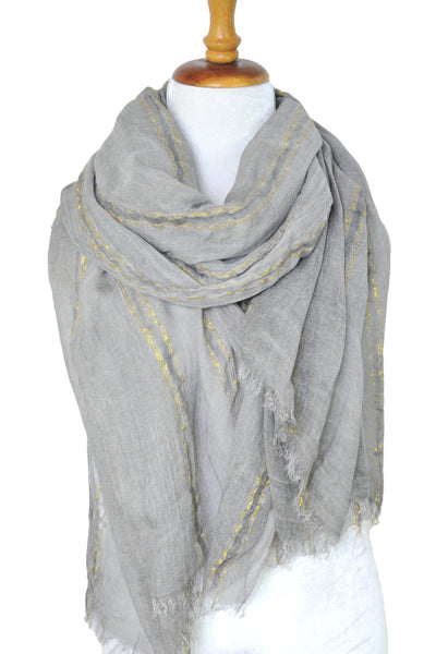 Natural Texture w Lurex Stripe - Gray