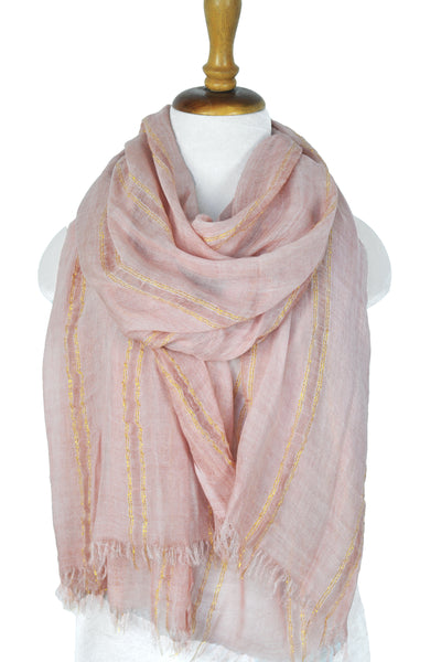 Natural Texture w Lurex Stripe - Pink