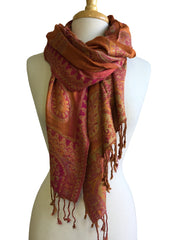 Paisley Pashmina Scarf in Orange