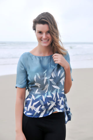 Thai Silk Art Beach Hut Top - Deep Sea Blue