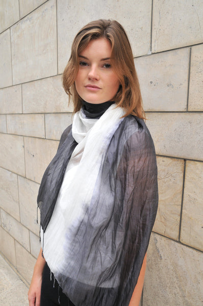 Ombre Crinkled Silk Scarf - Black