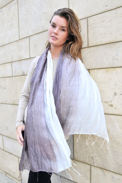 Ombre Crinkled Silk Scarf - Brown