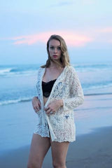 Lace Cardigan w Hoodie