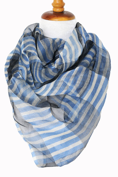 Silk w Wool Alternating Stripe - Blue & White