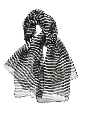Silk w Wool Alternating Stripe - Black & White - ETA Sept 1