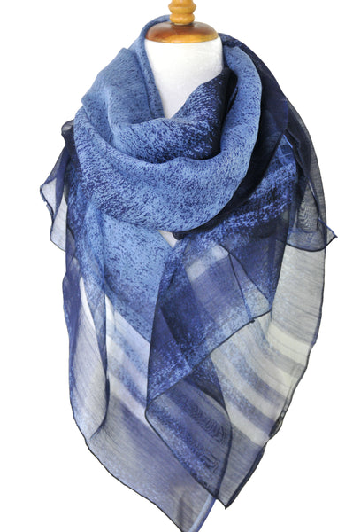 Silk w Wool Ombre w Border Stripe - Blue