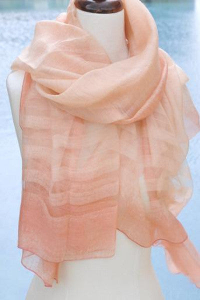 Silk w Wool Ombre w Border Stripe - Orange