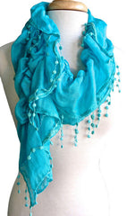 Crushed Solid Scarf in Jade