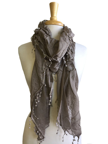 Crushed Solid Scarf in Taupe