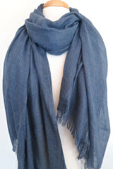 Oversized Modal Solid Scarf in Denim