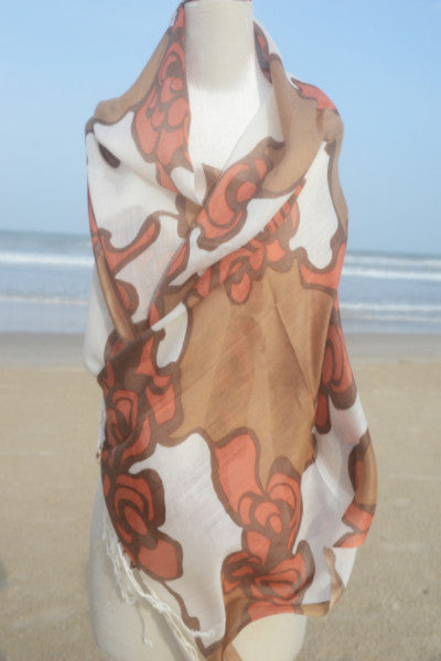 Cotton Floral Print Scarf in Bronze