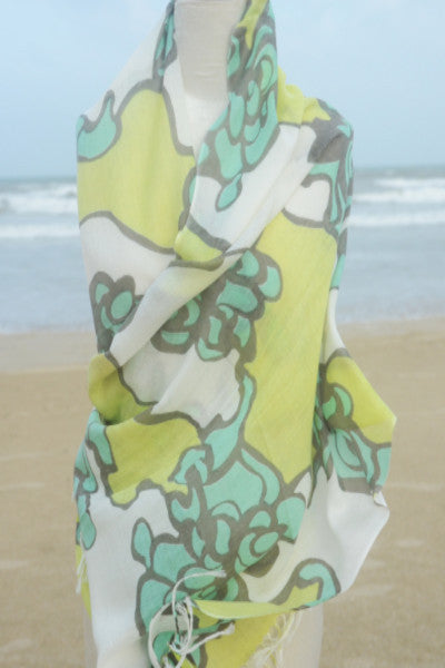 S444 Cotton Floral Print Scarf in Lime