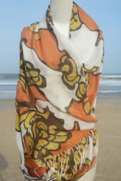 Cotton Floral Print Scarf in Orange