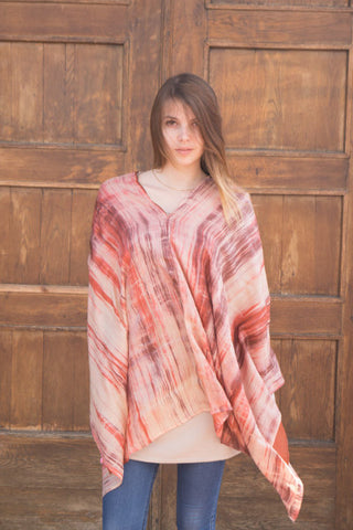 Double layer silk poncho - Potter's Clay