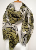 Merino Scarf in Evening Flower - Lichen Green