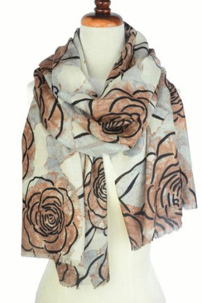 Merino Scarf in Evening Flower - Brown