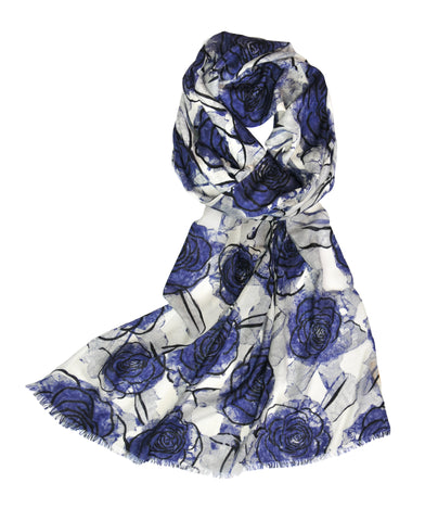 Merino Evening Flower - Dark Blue