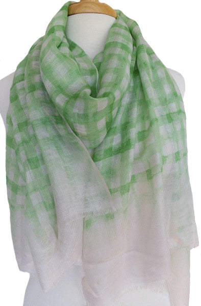 Brushstroke Silk & Modal Scarf in Celery Green