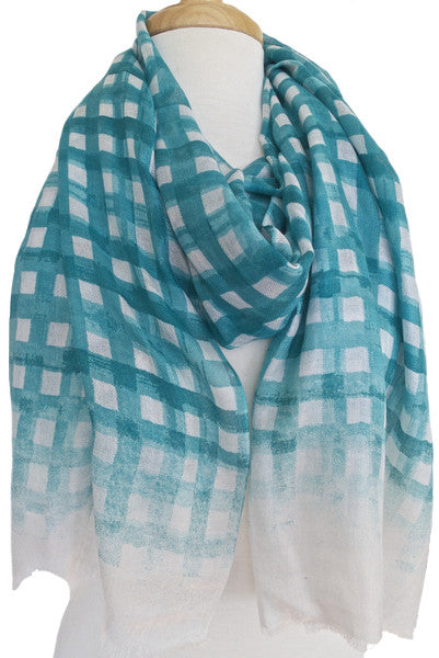 Brushstroke Silk & Modal Scarf in Scuba Blue