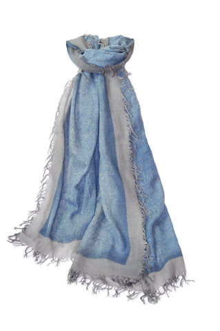 Cashmere w Merino Shawl - Light Blue w Gray Border