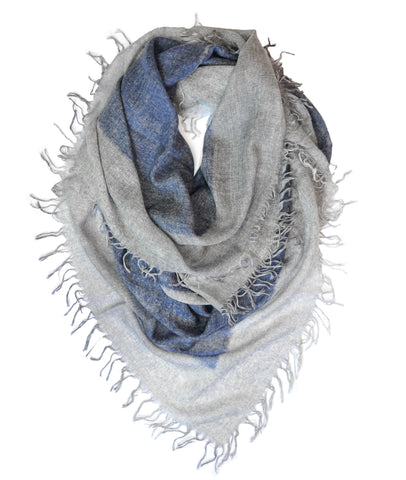 Cashmere w Merino Shawl - Dark Blue w Gray Border - ETA Aug 1