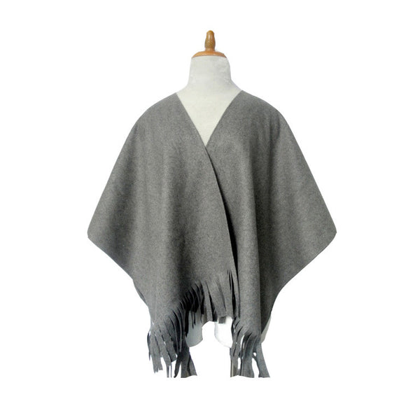 School Gray Gabriella Solid Wool Shawl