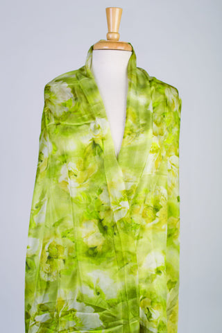 Brilliant Bouquet Silk Scarf in Lime Green