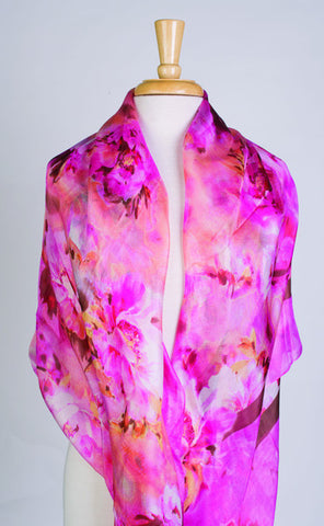 Brilliant Bouquet Silk Scarf in Rose