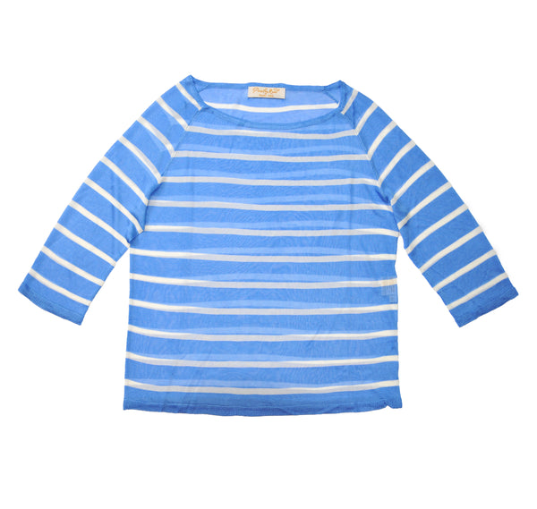 Rayon knit Oslo Boat Neck Top - Blue w White