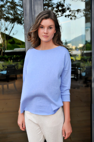 Cashmere w Cotton Boat Neck Top - Soft Blue - ETA Dec 17